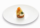 A duo of salmon with a crispy poached egg