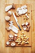 Shiitake mushrooms, king trumpet mushrooms and chanterelles