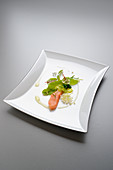 Brown trout with sorrel, rhubarb and pistachio cream