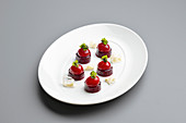 Salted sweet cherries with beetroot and rice cream