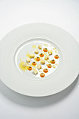 White beans with apricot stones, sage and sheep's cheese