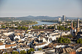 A view of the Rhine and the Siebengebirge mountain range, North Rhine Westphalia, Germany