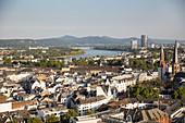 A view of the Rhine and the Siebengebirge mountain range, North Rhine Westphalia, Germany