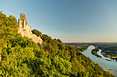 A view from Drachenfels of Nonnenwerth Island, Rhine River, North Rhine-Westphalia, Germany
