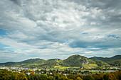 A view of the Siebengebirge mountain range, Petersberg mountain, Drachenburg mountain and Drachenfels, North Rhine-Westphalia, Germany