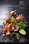 Rabbit meatballs with a tomato salsa