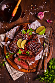 Beef steak in a sticky sauce with lime and chilli