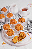 Carrot muffins with tea