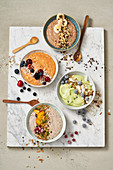 Four types of smoothie bowls