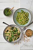 Green asparagus pasta and broccoli-pesto pasta