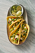 Tortillas with a sweetcorn and fish filling