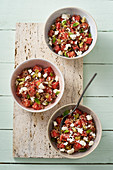 Watermelon salad with quinoa, feta cheese and mint