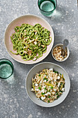 Zoodles with avocado sauce and creamy risotto with courgette and feta cheese