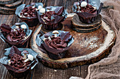 Chocolate cupcakes with ganache buttercream and chocolate mushrooms