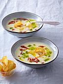 Festive potato soup with chips