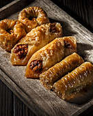 Assorted Turkish baklava in a rustic style