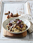 Mushroom risotto with nuts and roasted beets