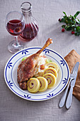 Goose on honey and wine with rolled dumplings