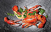 Grilled lobster with herb oil