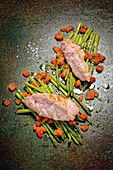 Grilled sweetbreads with Thai asparagus and tomato vinaigrette