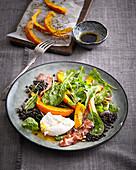 Salad with pumpkin and black lentils
