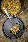 Pichelsteiner (German stew with meat and vegetables) made in a Dutch oven