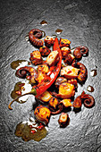 Grilled octopus in piment d'espelette oil