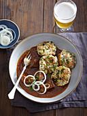 Goulasch and Viennese bread dumpling