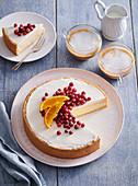 Orange cheesecake with cranberries
