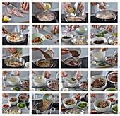 Zubereitung warmer Salat mit Hähnchen, Reis, Kernen und Cranberries