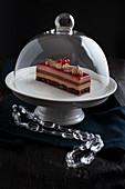 Patisserie mit roten Früchten und Schokolade unter Glashaube