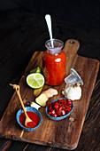 Homemade Carribean pickled chili sauce