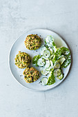 Broccoli fritters with salad