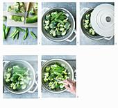 Green vegetables being steamed