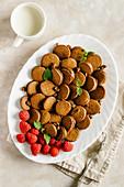 Chocolate mini pancakes with raspberry