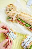 Picknick-Baguette mit Mozzarella und Salami
