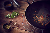 Wok with various Indian spices