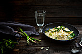 Risotto with Adamah rice, green asparagus and brie cheese