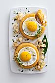 Celeriac flan with fried eggs