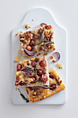 Focaccia with grapes, sage and pecorino
