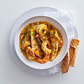Gurnard with shrimp, fennel and saffron