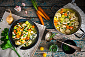Vegetable soup with chicken and semolina dumplings