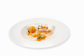Halibut on a pickled pumpkin with coconut and chilli foam