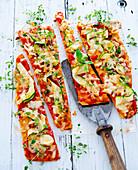 Courgette pizza with fresh oregano