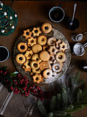 Freshly baked Linzer cookies