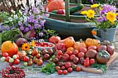 Erntetisch mit Tomaten, Zucchini, Hokkaido-Kürbis, Herbstastern, gelbe Bete, Strauß aus Ringelblumen und Aster, Kränzchen aus Hagebutten