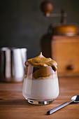 Whipped coffee Dalgona coffee in cold milk