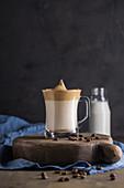 Dalgona coffee in cold milk