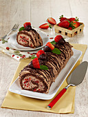 Strawberry and chocolate Swiss roll