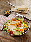 Ceasar salad with avocado and hard-boiled eggs